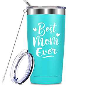 Best Mom Ever - Unique Birthday Mothers Day Christmas Gifts for Mom from Daughter, Son - Best Thank You Gifts for Mama Insulated Mug, 20 oz Mom Tumbler Cup with Keychain, Mint