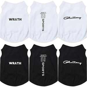 6 Pieces Printed Puppy Dog Shirts Pet Shirt Soft Breathable Pet T-Shirt Printed Pet Clothing for Dogs and Cats (Black and White Words,Large)