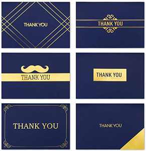 120 Thank You Cards Bulk - Thank You Notes, Navy Blue & Gold Blank Note Cards with Envelopes, Perfect for Business, Wedding, Graduation, Birthday, Bridal Shower, Gift Cards, Funeral 4x6in (120pcs blue)