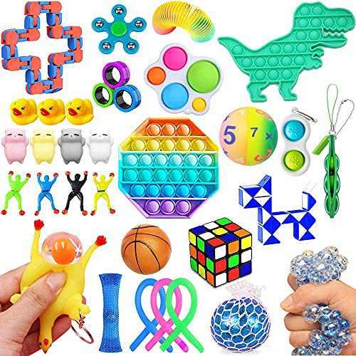 32 Pack Fidget Toys, Stress Relief Bundle Sensory Fidget Toy Sets for Adults, Simple Dimple Fidget Pack, Sensory Fidget Hand Toys for ADD ADHD Autism, Party Gift School Supplies