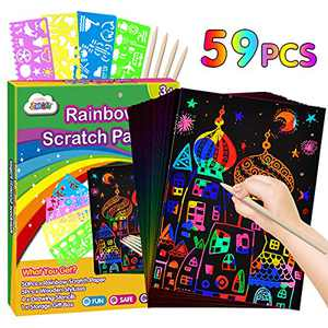 ZMLM Scratch Paper Art Set: 59Pcs Magic Drawing Art Craft Kid Black Scratch off Paper Supply Kit Toddler Preschool Learning Bulk Toy for Age 3 4 5 6 7 8 9 10 Girl Boy Holiday|Party Favor|Birthday Gift