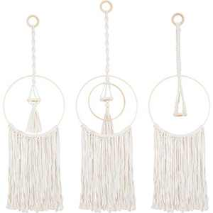 3 Pack Macrame Hanging Air Plant Holders- Bohemian Hand-Woven Air Plant Hanger with Tassel Decorative Cotton Rope Airplant Rack in 3 Styles with Hanging Hooks for Tillandsia Display Boho Home Decors