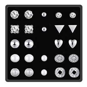 12 Pairs Stud Earrings for Women, Piercing Crystal Pearl Earring Sets for Girls, Ideal Jewelry Gift or Daily Wear