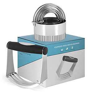 HUINF Pastry Cutter Set,Dough Blender and Wave Biscuit Cutter Stainless Steel,Heavy Duty Pastry Blender,5 Pieces Cookie Cutter with Handle-Smooth Baking Dough Tools