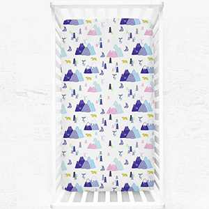 """Fitted Crib Sheet for Baby Girls Boys, Soft Breathable Microfiber Mattress Cover Snug Fit Standard Crib and Toddler Bed, 28"""" x 52""""(Colorful Forest Bear)"""