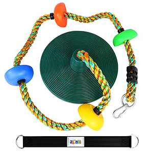 Climbing Rope with Platforms and Disc Swing Seat Set Playground Accessories Including Bonus Hanging Strap & Carabiner ( Green Black)