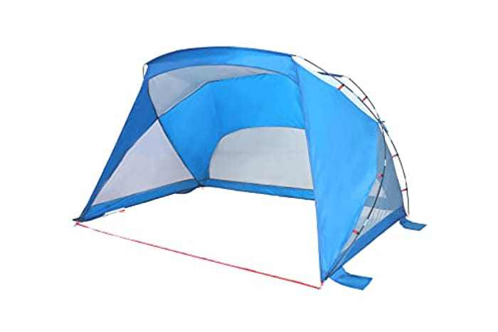 ALHPA CAMP Pop Up Camping Beach Tent, Portable Easy Setup 3 Person Sun Shade Tent with UPF 50+ Protection, Family Sun Shelter Canopy with Carry Bag Ideal for Camping, Fishing, Beach, Picnic, Blue