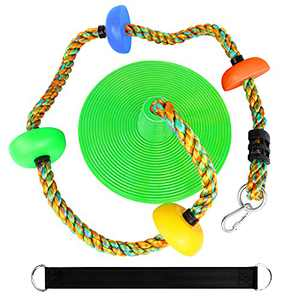 Climbing Rope with Platforms and Disc Swing Seat Set Playground Accessories Including Bonus Hanging Strap & Carabiner ( Leaf Green)