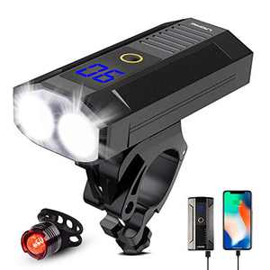Bike Headlight, LED Bike Front Light 1000 Lumens Rechargeable Bike Light with 5200mAh Power Bank, Aluminum Alloy Night Safety Light Set for Road Cycling with IPX6 Waterproof
