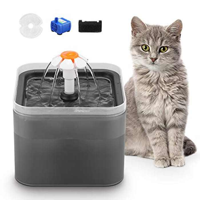 GOWEDNG Cat Water Fountain,Colorful Design,67oz/2L Ultra-quiet Pump With LED Light,Suitable Three Ways To Drink,Automatic Drinking Fountain For Cats and small Dogs (Charcoal gray)