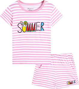 Naivete Summer Clothing for Girls Cotton Unicorn Cute Kids Pink Striped Clothes Children Clothes Set Size 12