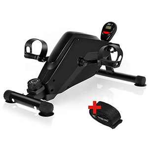 WELYAS Under Desk Bike Pedal Exerciser Mini Magnetic Stationary Exercise Bike with LCD Monitor for Leg and Arm (Black)
