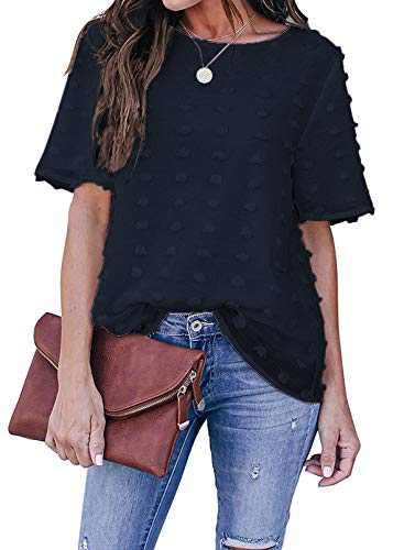 AZOKOE Women Chiffon Blouses Casual Crewneck Short Sleeve Swiss Dot Loose Shirt Tops with Pom Pom Detailing Blue 2XL