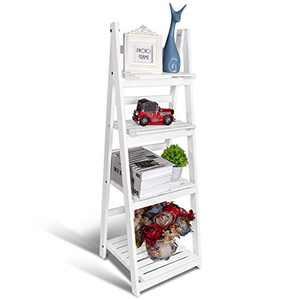 Ladder Shelf, 4-Tier Foldable Wood Bookshelf, Industrial Bookshelf, Ladder Bookcase Free Standing Organizer Storage Shelves Flower Plant Stand Rack for Living Room Bedroom Balcony Office