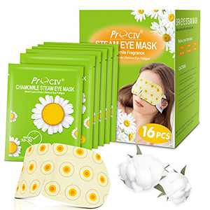 16 Packs Eye Masks for Dark Circles and Puffiness Disposable Soothing Headache Relief Dry Eyes, Stress Relief Relief Eye Fatigue -Chamomile Smell