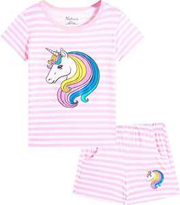 Naivete Little Girl Unicorn Clothing Cotton Striped Cute Children Summer Clothes Toddler Horse Short Set Size 10