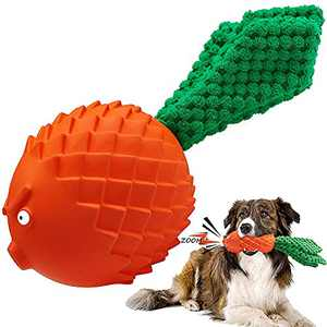 Dog Chew Squeaky Toy for Aggressive Chewers, Indestructible Natural Rubber Dogs Toy, Durable Tough for Large Breed, Medium and Small Puppy Teeth Cleaning, Beef Flavor with Interactive Rope