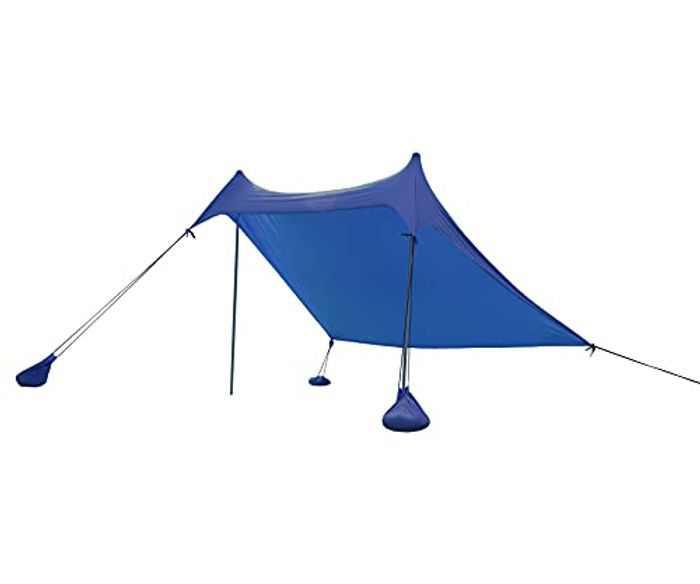 ALPHA CAMP Beach Shade, Beach Tent with Sand Anchor, Portable and Lightweight Canopy SunShade - 2.3m x 2.2m (Dark blue)