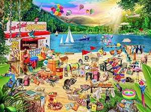 GuDoQi Jigsaw Puzzles for Adults, 1000 Piece Puzzles for Adults, Family Campsite Puzzles, Large Family Puzzle Game Adult Toy