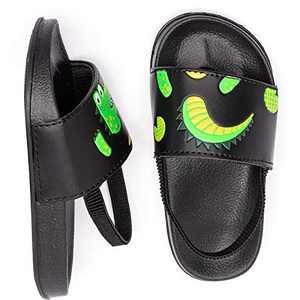 Toddler Boys Girls Slide Sandals Slip-On Footbed Outdoor Water Shoes Beach/Pool (Black/Cartoon,8-9 Toddler)