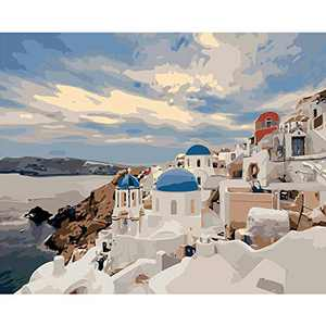 Paint by Numbers for Adults Beginner ,Beach Seaside Landscape Aegean Sea Paint by Numbers for Adults ,Paint by Numbers for Kids(16x20inch)