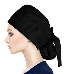 Fesciory Adjustable Working Caps with Button & Sweatband, Women Ponytail Pouch Hats, Long Hair (Black)