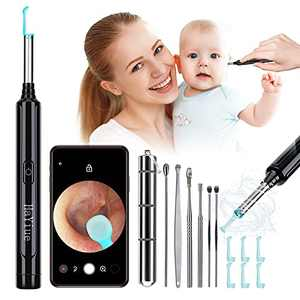 Ear Wax Removal with Camera, Earwax Remover Tool, 1296P FHD Wireless Ear Otoscope with 6 LED Lights, 6 Ear Spoon & 6 Traditional Tools Ear Wax Removal Kit for iPhone, iPad & Android Smart Phone