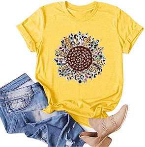 Fancyqube Women Sunflower Graphic Tees Funny Print Tshirt Cute Flowers Shirts Casual Summer Short Sleeve Tops(m Yellow)