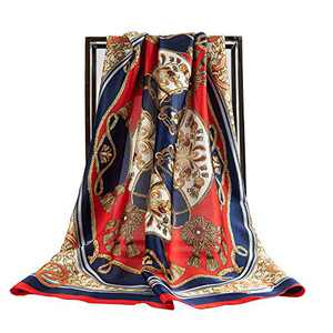 Villand Luxury Silk Scarf for Women, 27'' × 27'' Square Hair Wrapping, Head Neck Scarfs with Gift Box (Blue & Red)