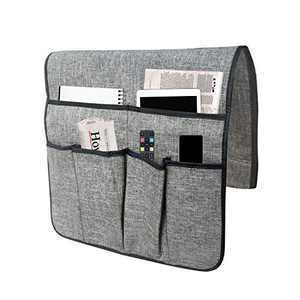 SOXART Home Sofa Armrest Organizer, 2 Layers Thick Non-Slip Couch Caddy Armchair Storage with 6 Pockets for Smart Phone, Book, Magazines, Ipad, TV Remote Control Holder (Grey)