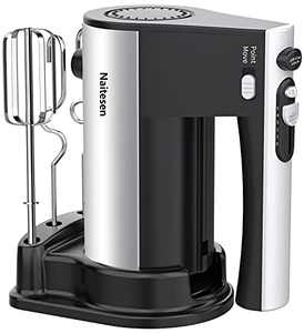 600W Electric Hand Mixer Kitchen Handheld Mixer 10 Speed Powerful with Turbo for Baking Cake Lightweight & Personal Electric Mixer with Beaters Dough Hooks, Whipping Mixing Cookies, Brownies, Batters, Meringues, Mashed Potatoes