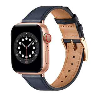 BesBand Compatible with Apple Watch Bands 44mm 42mm 40mm 38mm, Genuine Leather Business Replacement Bands Loop Men Women for iWatch SE & Series 6/5/4/3/2/1(Navy Blue/Rose Gold,38mm/40mm)