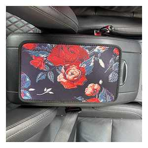 UZ Car Center Console Cover Comfortable Leather Protector Neoprene Auto Armrest Console Cover Universal Fit (Red Flowers)
