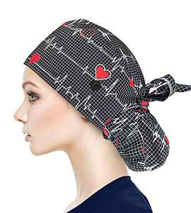 Fesciory Adjustable Working Caps with Button & Sweatband, Women Ponytail Pouch Hats, Long Hair (Black ECG)