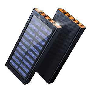 Aikove Portable Charger Solar Power Bank 24000mAh External Battery 4 USB Ports with 3 Input Ports (Micro 2.4A USB) for Other Smartphone, Tablets (Orange)