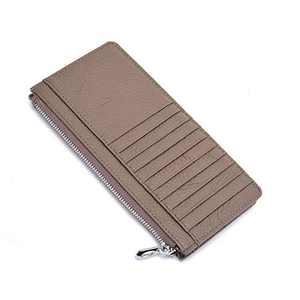 Slim Credit Card Holder for Women,FRID Blocking,Minimalist Wallet,Mini Front Pocket Wallet,Genuine Leather,Khaki/L