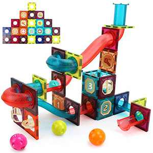 BeebeeRun Magnetic Tiles for Kids,3D Pipes Magnet Marble Runs,Clear Color Magnetic Building Blocks,Magnet Toys,Preschool Educational STEM Toys for Toddlers,Gift for 3 4 5 6 Year Old Boys Girls