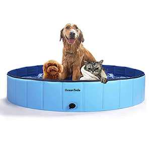 OceanTeda Foldable Dog Pool for Large Dogs 48in Portable Pets Bathing Tub,Kiddle Swimming Pools for Kids Dogs Indoor and Outdoor (48inch12inch)