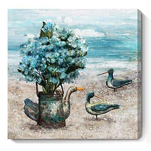 Framed Ocean Wall Art for Bathroom Teal Floral Canvas Print Sea Bird Vintage Duck Watering Can Flower and Nature Coastal Theme Beach Picture Original Seascape Artwork Lake Seaside Room Décor for Home Bedroom Small 14 x14inch