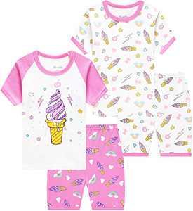 Little Girls Summer Pajamas Short Sleeve Pjs Ice Cream Sleepwear Toddler Cotton Clothes Size 5