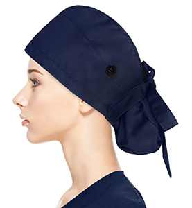Fesciory Adjustable Working Caps with Button & Sweatband, Women Ponytail Pouch Hats, Long Hair (Navy)