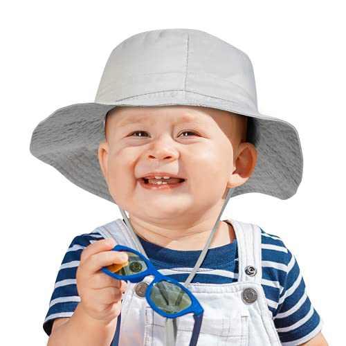 Momcozy Baby Sun Hat Summer UPF 50+ Adjustable Wide Brim Bucket Hat Infant Toddler Beach Hat for Baby Boy Girl 6-24 Months Grey