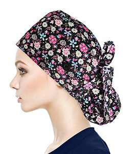 Fesciory Adjustable Working Caps with Button & Sweatband, Women Ponytail Pouch Hats, Long Hair (Multicolor Flower)