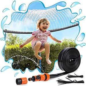 PARIGO Trampoline Sprinkler Toys for Kids, Trampoline Water Park Sprinkler Fun Summer Outdoor Water Games Yard Toys, Trampoline Accessories Backyard Water Play for Boys Girls Adults 39ft