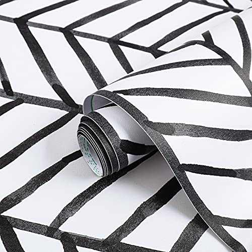 "Peel and Stick Wallpaper 17.7""x118"" Black and White Wallpaper Stripe Herringbone Contact Paper Leaf Self Adhesive Wallpaper DIY Removable Decorative Vinyl Paper for Walls Bedroom Cabinet Shelf Liner"