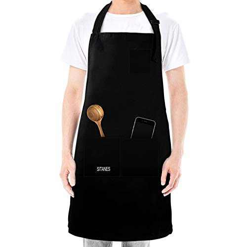 Mens Apron,Adjustable Bib Chef Apron for Men Women and Cooking Kitchen Large Aprons for BBQ Painting with pocket (29X27in)