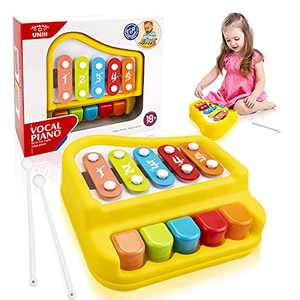 UNIH Baby Piano Xylophone Toys for 1 Year Old Boy Girl, Xylophone Musical Toys for Toddlers 1-3, Baby Musical Instruments Toys for 6-12 Months Boy Girl