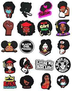 20pcs - Black Girl Magic Shoe Charms, PVC Charms for Crocs Clog Shoes, Black Lives Matter Shoe Charms for Crocs, Black Culture Charms for Crocs Shoes