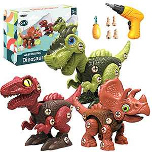 Dinosaur Toys for 3 4 5 6 7 Year Old Boys,Take Apart Dinosaur Toys with Electric Toy Drill Set - Educational STEM Building Dinosaur Toys,Construction Learning Gifts for Boys & Girls
