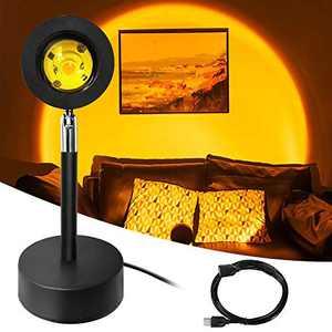 Sunset Projection Led Light, 180 Degree Rotation Rainbow Projection Lamp, Romantic Visual Led Light, USB Night Light Projector Led Lamp for Party Living Room Bedroom Wedding Birthday Decor (Sunset)